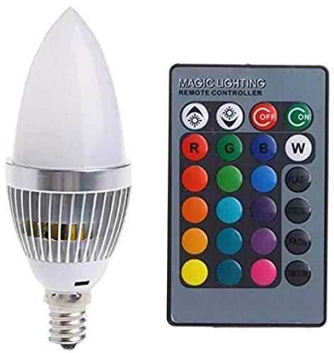 LILAODA Bombilla de cambio de color 3 W Smart E14 RGB LED con 24 velas, botón de mando a distancia, pantalla lechosa perfecta