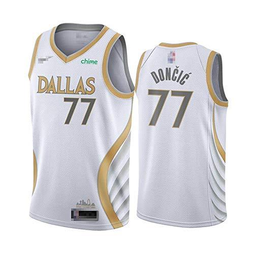 Camiseta de baloncesto sin mangas para hombre, diseño de Luka Dallas NO.77 Mavericks Doncic Fast Break equipo, réplica de jugador de baloncesto uniforme de secado rápido transpirable sudadera