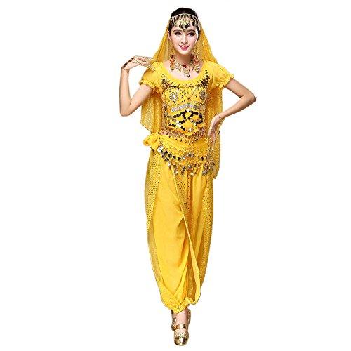TWIFER Damen Bauchtanz Outfit Kostüm Indien Tanzkleidung Top + Hosen Kleidung