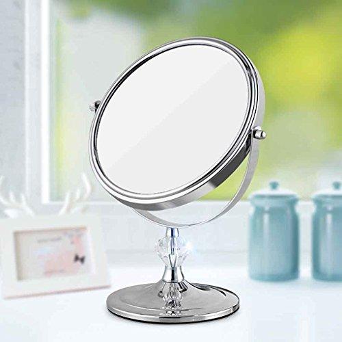 HD Miroir de maquillage de beauté Bureau Miroir de bureau de princesse Zoom Miroir de miroir de table simple Miroir de haute définition Miroir de haute définition Trois fois Zoom Exquise et belle Rotation à 360 degrés Xuan - worth having ( Couleur : Acier inoxydable )