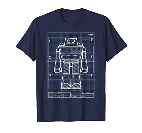 Cool Blueprint Robot Design Engineer Holiday Gift for Kids T-Shirt