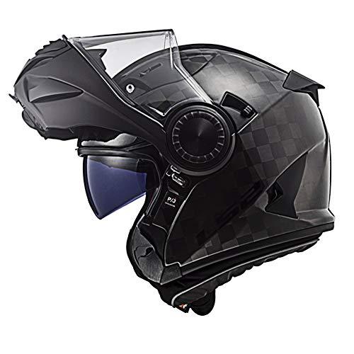 LS2 FF313 Vortex Carbon Casco Moto Modulare con Doppia Visiera per Ciclometri Motocicletta e Scooter Caschi da Moto Modulari Donna e Uomo Carbone Hi Viti Giallo M (57-58cm)