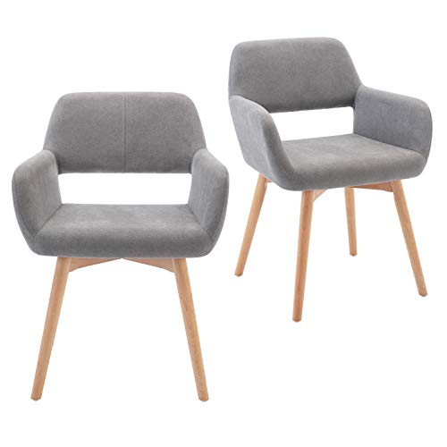 Lansen Furniture Modern Living Dining Room Accent Arm Chairs Club Guest with Solid Wood Legs (2, Light Grey)