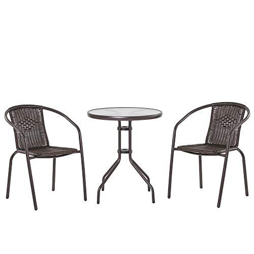 Outsunny Set Tavolo Pieghevole e 2 Sedie da Giardino in Acciaio e Rattan PE, Arredamento da Esterno da 3 Pezzi Marrone