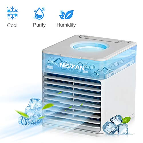 NexFan Mobile Klimageräte, 4 in 1 Mini Persönliche Klimaanlage,Luftbefeuchter, Luftreiniger und Aromadiffusor,USB Klimaanlage Air Conditioner, 3 Kühlstufen, 7 Farben LED Kühlung Klima