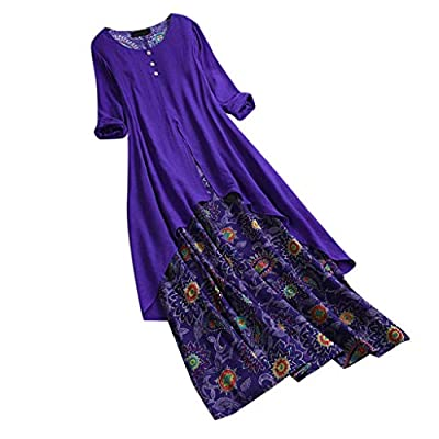 JustWin Ladies Vintage Printed Fake Two-Piece Dress O-Neck Maxi Dresses Flutter Sleeves Empire Waist Long Mixi Dresses