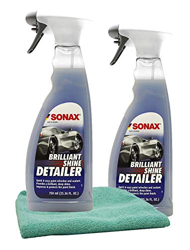 Sonax Brillant Shine Spray Detailer (25 oz) Bundle with Microfiber Cloth (3 Items)