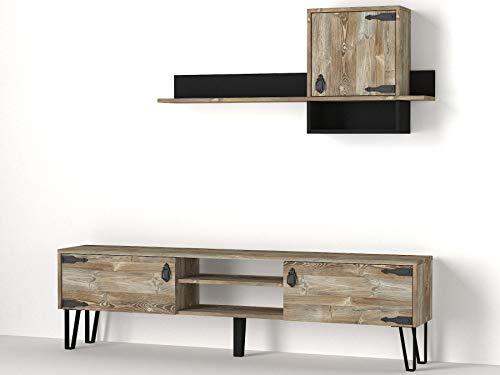 Alphamoebel 4418 Costa Wohnwand Anbauwand TV Lowboard mit Metallfüße Wohnzimmerschrank, Walnuss, Holz, Hängeregal mit Schrank, 180 x 49 x 29,5 cm