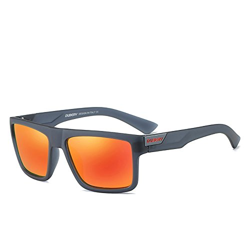 DUBERY Mens Sport Polarized Sunglasses Outdoor Riding Square Windproof Eyewear, #4, Frame width:141mm