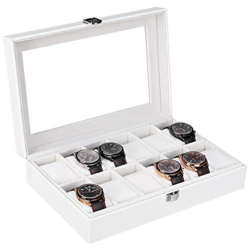 Femor Caja Relojes para 12 relojes, Guarda Relojes/Estuche con Cojín de Cuero de PU, Almacenamiento de Reloj con Cerradura(Blanco)