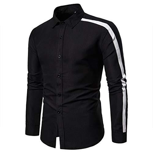 manadlian Homme Chemises Business Manches Longues Automne 2019 Blouse Slim Fit Tops Impression Rayure Haut Chemises Casual Vêtements Tops Outwear