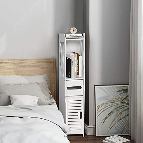 Badrumsskåp vitt golv fristående smalt skåp förvaring skåp hylla näsduksförvaring ställning vattentät tunn toalett sminkskåp för tvättrum, vardagsrum, kök, 80 x 15,5 x 15 cm