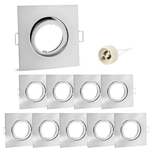 10er Set linovum® Einbaustrahler Rahmen - Einbaurahmen schwenkbar eckig Alu gebürstet inkl. GU10 Fassung für LED, Halogen