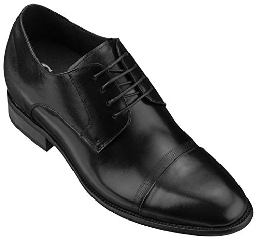 CALTO Men's Invisible Height Increasing Elevator Shoes - Black Premium Leather Lace-up Formal Oxfords - 3 Inches Taller - Y1004 - Size 9 D(M) US
