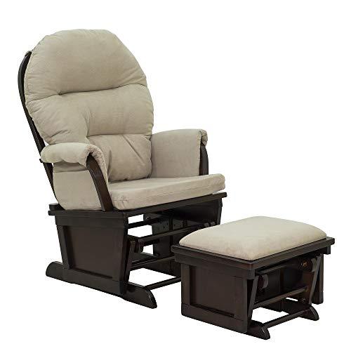 HOMCOM Nursery Glider Rocking Chair with Ottoman Set - Cream White