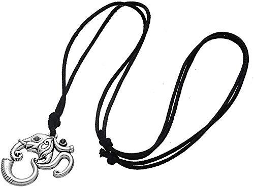 ZGYFJCH Co.,ltd Collar Elefante Inteligente Anhänger Halskette Silber Farbe Om Yoga Indische Amulett Seil Kette Mwoman Mandala Ganesha Halskette Regalos