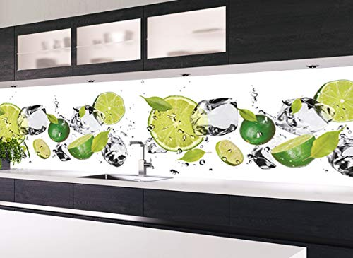 KLINOO Küchenrückwand in Limettenoptik als Spritzschutz - Wandschutz - alle Untergründe (verdeckt Fugen) - zuschneidbar/erweiterbar - geruchsneutral - wiederablösbar - 136cm x 48cm (Limette)