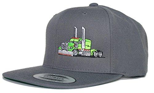 Just Ride Trucker Truck Hat Big Rig Cap Flat Bill Snapback (Grey/Lime Green)