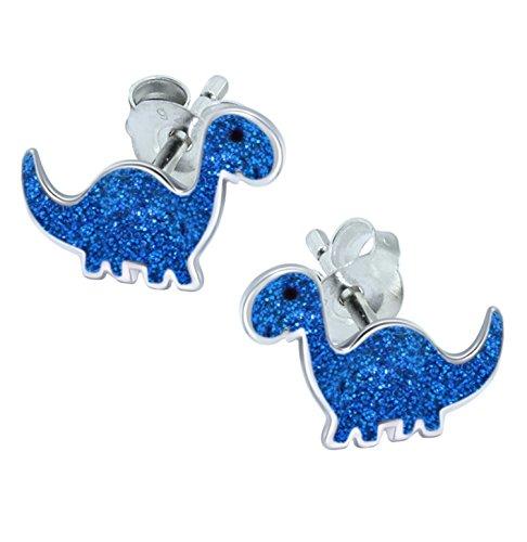 Azul purpurina dinosaurio pendientes–plata de ley