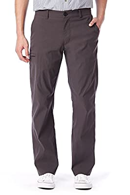 UNIONBAY Men's Rainier Lightweight Comfort Travel Tech Chino Pants, Charcoal, 34x32