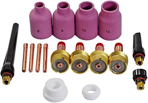 TIG lente de gas Coronilla Cuerpo El diámetro grande boquillas de cerámica Ajuste PTA DB SR WP 17 18 26 Soldadura TIG 17pcs