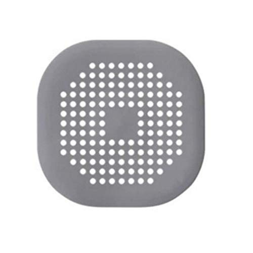 WEQQ Tapa de desagüe Cuadrada para Ducha TPR Drenaje Receptor de Cabello Tapón de Silicona Plano (Gris)