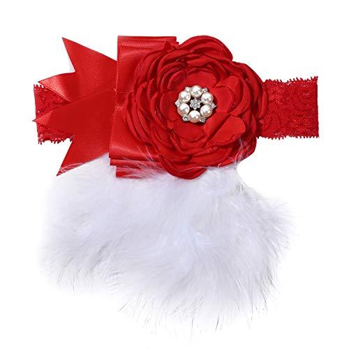 GLJYG Cinta para el pelo para bebé, con brillantes, plumas, flor, diadema, diadema, accesorio para fotografía, color rojo
