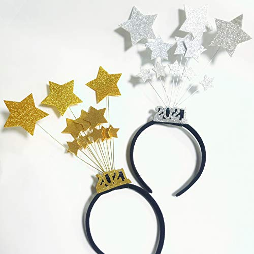 2 Pack Happy New Year Headband for New Years Eve Party Decorations ,Glitter Star Headband,New Years Eve Party Hats Headband