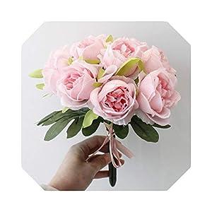 Silk Flower Arrangements MUZIBLUE Babys Breath Artificial Flowers  French Rose Silk Flower Artificial Flower Bouquet for Wedding Decor Table Home Room Garden Decor Fake Flower 10 Heads/Bunch-Pink