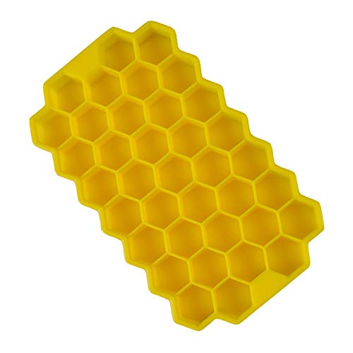 IJsblokjesbak, DIY honingraat siliconen ijsblokjesvorm, ideaal voor vriezer, babyvoeding, water, whisky, cocktail en andere dranken Geel