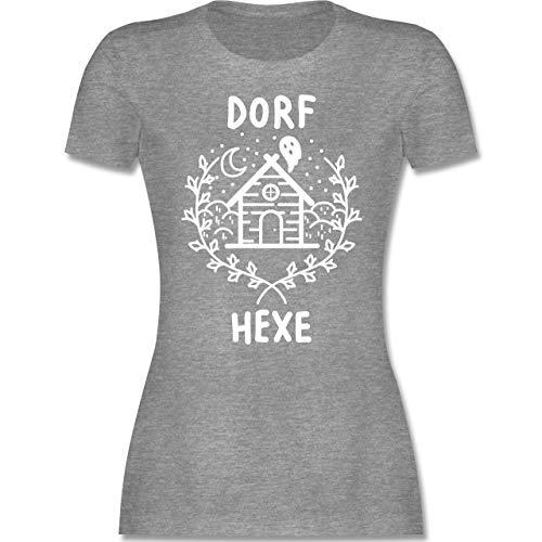 Halloween - Dorfhexe Halloween - XXL - Grau meliert - Witches t-Shirts - L191 - Tailliertes Tshirt für Damen und Frauen T-Shirt