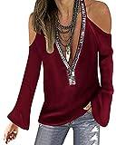 YOINS Blusa de manga larga con hombros descubiertos para mujer, cuello redondo, con lentejuelas brillantes