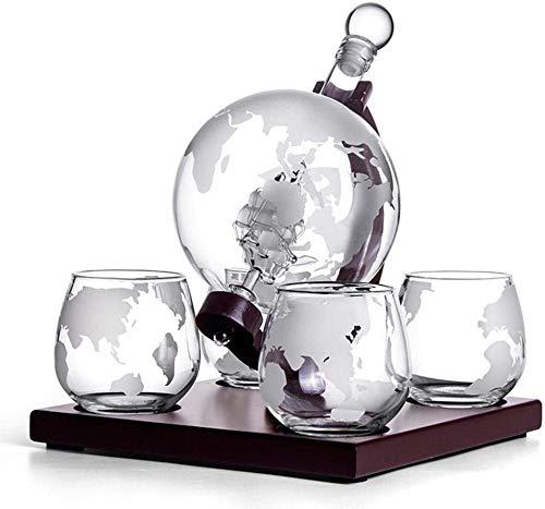 XIAOWANG Formulario de la Tierra Decantador de Whisky Set Vodka Globe Decanter con 4 Gafas Bebe Pender Bourbon, Vodka y Vino con Herramientas de Barra de Soporte de Madera