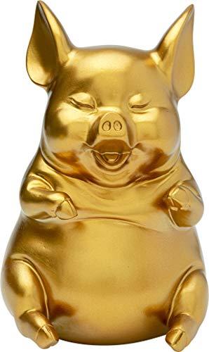 Kare Spardose Happy Pig Sitting Gold, Polyresin