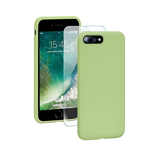 SmartDevil Cover iPhone 7 Plus,[Libero Pellicola Vetro Temperato] Custodia Antiurto Gomma Gel Silicio Liquido con Fodera Tessile Microfibra Morbida Custodia iPhone 7 Plus/8 Plus Silicone Protettiva