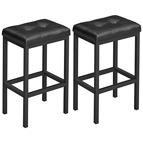VASAGLE Barhocker, 2er Set, Barstühle, 40 x 30 x 62 cm, rückenfrei, PU-Bezug, einfache Montage, Industrie-Design, für Esszimmer, Küche, Theke, Bar, Schwarze Sitzfläche und schwarzes Gestell LBC068B81