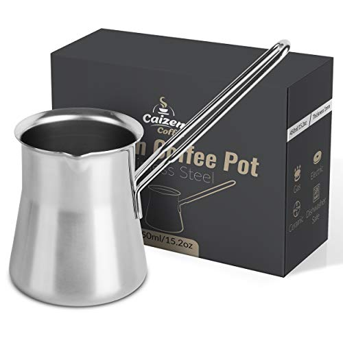Turkish Coffee Pot - Ibrik Cezve Briki Arabic Greek Pot - Milk & Butter Warmer - Brew Delicious Espresso - Modern Design & Unique Gift, for Women, Men, Christmas - Stainless Steel (15oz)
