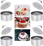 ProLeo, set di anelli da dessert in acciaio inox, set di 4 anelli da cucina per torte, composto da 4 anelli e 4 presse per alimenti