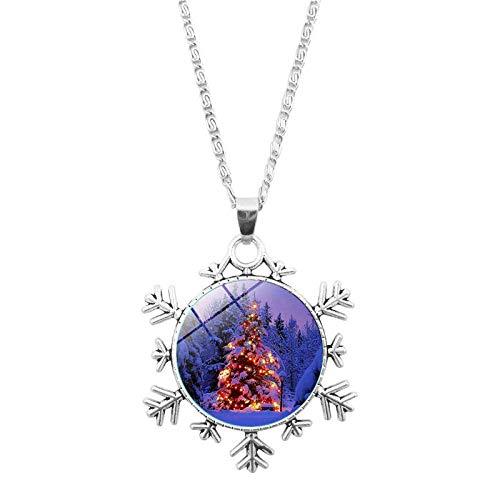 DZX Zeit Edelstein Schmuck, schöne Weihnachtsbaum Pflanze im Winter Schnee, Weihnachten Schneeflocken Armband europäischen und amerikanischen Halskette Schmuck Kristall, Mode Geschenk