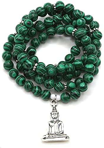 PPQKKYD Collar Buda Talismán Ojo de Tigre Piedra Natural 108 Cuentas Mara Yoga Collar Pulsera de Cuentas de Piedra