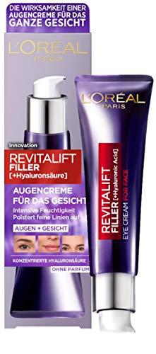 L\'Oréal Paris Hyaluron Augenpflege, Anti-Aging Augencreme für das Gesicht, Anti-Falten und Volumen, Mit Hyaluronsäure, Vitamin CG & E, Revitalift Filler, 30 ml