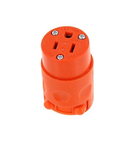 Leviton 515CV-OR 15 Amp, 125 Volt, PVC Grounding Cord Outlet, Orange