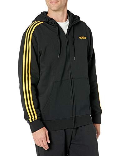 adidas Essentials - Sudadera con capucha para hombre, 3 rayas - FSG92, Essentials - Sudadera con capucha (forro polar, 3 rayas), 3XL, Negro/Active Gold