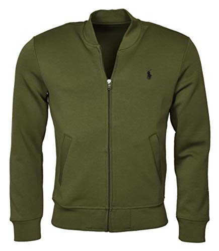 POLO RALPH LAUREN Men's Double-Knit Bomber/Track Jacket - L - Defender Green