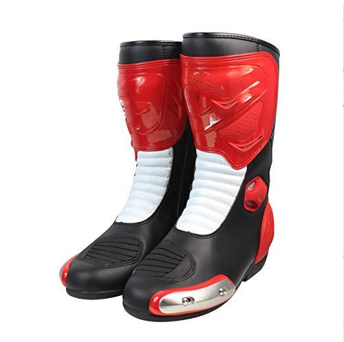 ZOULME Botas de Moto PU Resistente al Desgaste Protección Antideslizante Road Anti-Fall Racing Boots Black Certificado Certificado Motocross Off Road Quad Trail Kart-Rojo_45