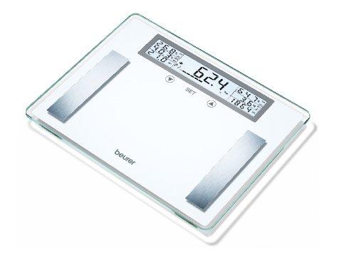 Beurer BG 51 Diagnosewaage (XXL Glaswaage bis 200 kg Tragkraft, 100 g Einteilung, Anzeige von Körpergewicht, -fett, - wasser, Muskelanteil, Knochenmasse, BMI, Kalorienbedarf)