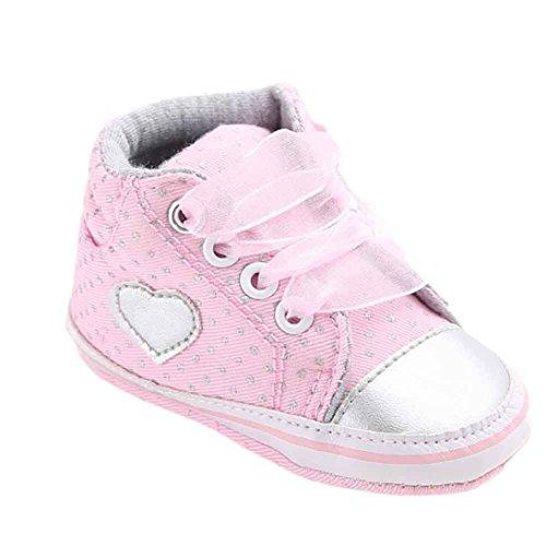 Kobay Kleinkind Schuhe Kleine Segeltuchschuh Herzform Schuhe Sneaker Anti-Rutsch Weiche Sohle Kleinkind (12 / 2Jahr, Grau)