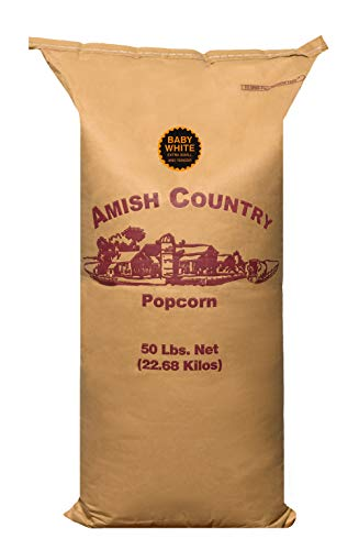 Amish Country Popcorn   50 lb Bag   Baby White Popcorn Kernels   Old Fashioned with Recipe Guide (Baby White - 50 lb Bag)