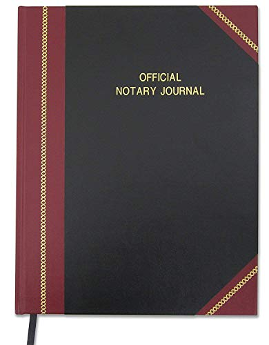 "BookFactory Official Notary Journal/Log Book 96 Pages 8.5"" X 11"" 380 Entries 50 State Journal of Notarial Acts, Black and Burgundy Cover, Black Ribbon Hardbound (LOG-096-7CS-LKMST71(Notary))"