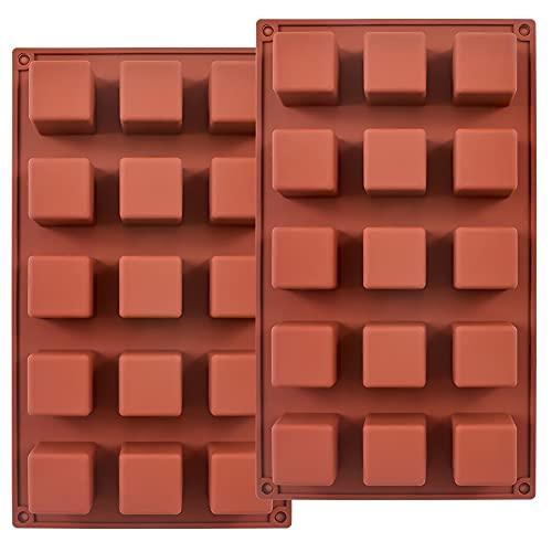 ionEgg 15 cavità 3,6 cm stampo quadrato in silicone, stampo cubo per la produzione di cioccolatini, torte, cubetti di ghiaccio, tartufi, praline, confezione da 2